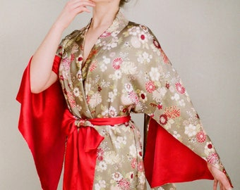 Haiku. 1 custom long Haiku kimono robe in faux silk crepe with pockets Antique Vintage style Boudoir Art deco Bohemian robe Gift for her