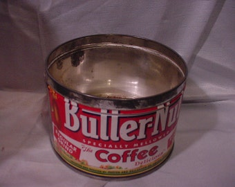 Butter Nut Coffee Tin Vintage 1-lb metal can  Paxton & Gallagher Co. Omaha Nebraska
