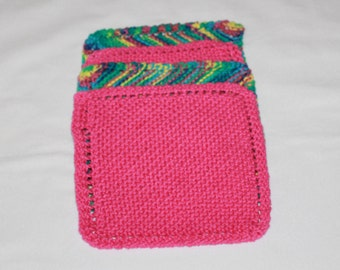 Knit Dish Cloths Set of 4 - 100% Cotton - Pink, Green, Blue