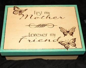 Wood burned Mother&Friend box