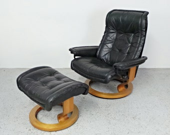 mid century modern Ekornes Royal black leather teak base lounge chair and ottoman