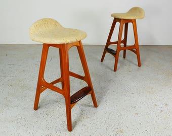 beautiful pair mid century Danish modern authentic Erik Buck OD Mobler teak & tweed bars stools