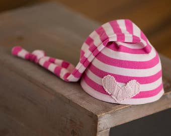 Newborn Hat Girl Upcycled Newborn Pink Striped Stocking Cap with Heart Ready to Ship Newborn Photography Prop Newborn Girl Props Newborn Hat