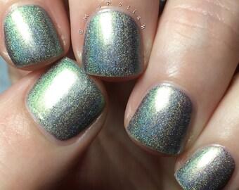 Walking Distance - Multi Chrome Chameleon - Linear Holographic - Green Silver Gunmetal Nail Polish