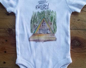 SIZE 6-9 months Hideaway onesie,  kids clothes, kids long sleeve shirt, camper clothes,  forest shirt, camper shirt, log cabin onesie