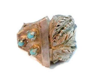 Modern Silver Turquoise Ring Size 8