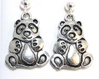 Pewter Panda Bear Charms on Sterling Silver Ball Post Stud Earrings - 5508