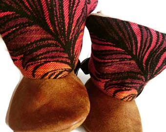 Real Leather- Wrap Scrap Booties- 0-6 months- Lenny lamb- Baby wearing- Feathers- Orange- Wrapscrap- New Baby- Baby shower- Medusa Bijoux