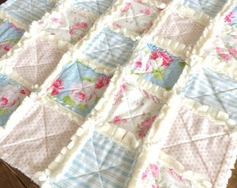 Pink, white, blue super soft vintage inspired floral minky baby girl rag quilt, photo prop, lovey blanket