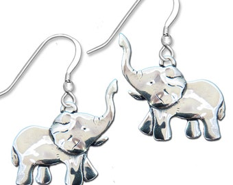 Sterling Silver Elephant Body Earrings