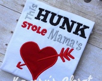 SALE This Hunk Stole Mama's Heart Valentines Day Saying Words Applique Embroidery Design Instant download 4 sizes