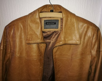 Vintage size S  tan leather jacket,  size 10 to 12 approx.