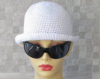 Sun Hat Cotton Sun Chemo Hat Crochet Summer Hat Perfect Beach Accessories  For Ladies White Cotton Cloche