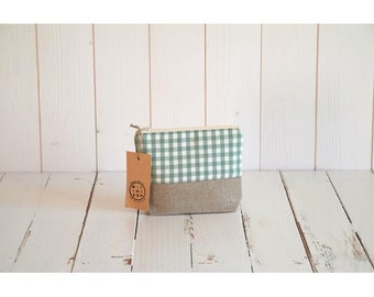 rustic linen cotton pouch bio green gingham