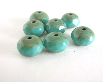 9x6mm Faceted Rondelle, Turquoise Picasso, Czech Glass Beads, Opaque Blue 15pcs