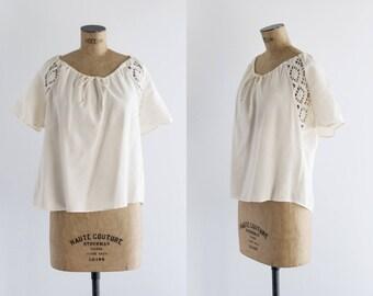 Vintage 1970s Ivory Peasant Top - 70s Bohemian Blouse , Crochet Lace - Céfiro Blouse