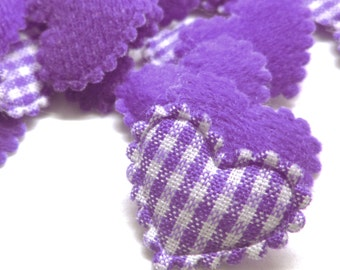 "100pcs x 3/4"" Purple Gingham Cotton Heart Padded/Appliques"