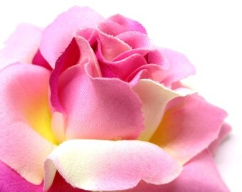 """3.75"""" Two-Tone Pink Silk Rose Heads (Pack of 4) - Fabric - Artificial Flower, Wholesale Lot, Wedding Decoration"""