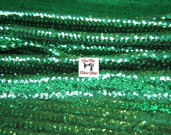 Green Stretch Sequin Fabric..great for costumes, dance, theater, formal wear, pageant.