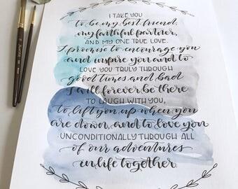 Calligraphy Wedding Vows, Wedding Vows Print, Custom Calligraphy, Custom Watercolor Print, Paper Anniversary Gift, First Dance Lyrics