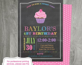 Cupcake Party, Rainbow Invitation, Custom Colors, Diy Party Printable, Girl Birthday Party, Digital File, Baking Party, Double Sided