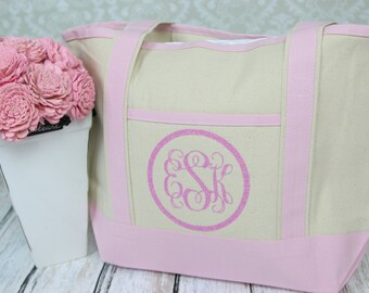 Monogrammed Pink Boat Tote Bag - Monogram Canvas tote Bag- Monogrammed Custom Large Tote Bag - Personalized handled Tote Bag