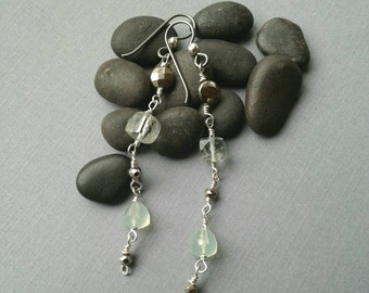 Long Classic Dangle Earrings, Sterling Silver, Niobium Ear Wires, Prasiolite Cubes, Pyrite Coin Gemstone Beads, Chalcedony, Special Event