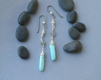 Boho Classic Dangle Earrings, Sterling Silver, Howlite Turquoise, Labradorite,  Niobium Ear Wires,  Casual Chic, Tami Lopez Designs