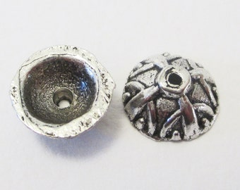 25 x Antique Silver Carved Bali End Bead Caps 5x9mm