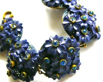 Vintage  Bohemian Czech Brass Links Bracelet, Deep Blue Flower Clusters with Rhinestone centers 1910-1918