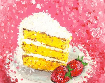 "Original canvas painting,food,pink,cake ""Coconut Cloud Cake"""