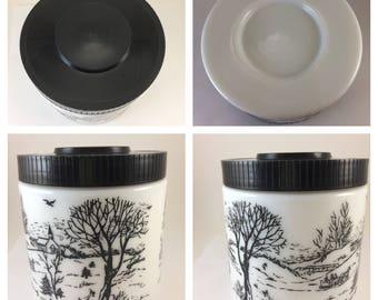 Milk glass jar humidor Currier Ives winter scene heavy glass container plastic lid black and white