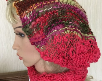Ooak unique womens designer lace effect hand knit/crocheted ,cerise pink,multicolour cowl,scarf,infinity neckwarmer