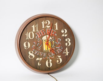 Bar Clock Beer Five Cents Wall Hanging 1970s