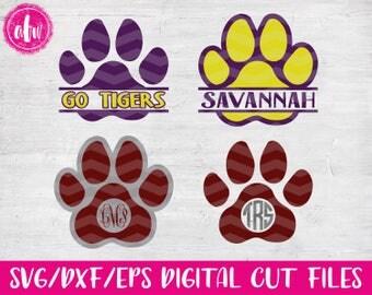 Split & Monogram Paw Print, SVG, DXF, EPS, Cut Files, Baseball, Basketball, Football, Volleyball, Soccer, Hockey, Vinyl, Tiger, Wolf