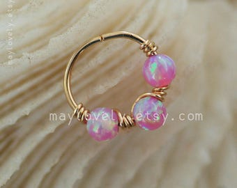 Pink opal jewelry, Nose hoop ring - Gold Nose Ring - opal Nose Hoop - Nose Jewelry - cartilage Hoop - Nose Earring - body Jewelry