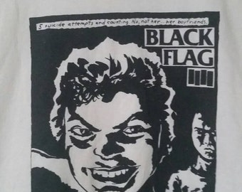 Vintage Rare 80s 90s Black Flag T-Shirt Band Flier Cut Off Sleeves 5 Suicides and Counting Raymond Pettibon