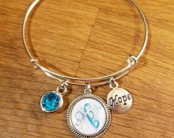 Ovarian Cancer IC Awareness HOPE Inspired Silvertone Expandable Charm Bracelet