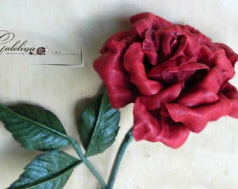 Leather rose red  third leather Anniversary wedding gift Long Stem  Valentine's Day  3rd Leather Anniversary Mother's Day leather Flower