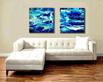 Diptych Abstract Blue Ocean Painting, Coastal Art, Acrylic Prints on Plexiglas, Glass Print, Contemporary Seascape Painting, Large Wall Art