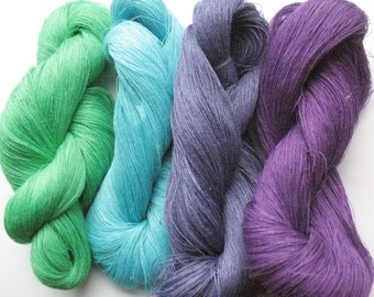 Linen Yarn Azure Blue Turquoise Violet Salad Green 400 gr (14 oz ), Cobweb / 1 ply, each hank contains approximately 3000 yds