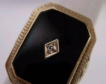 Reserved for Leah Amazing Antique Art Deco Filigree Onyx and Diamond Statement Ring 14K Yellow Gold