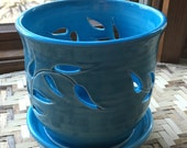 Handmade Porcelain Orchid Pot in Turquoise Blue