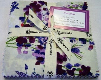 "MARCELLA Square Bundle designed by Sue Zipkin for Clothworks - (42) 5"" factory-cut squares - SQ0128"