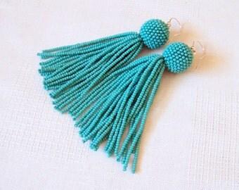 Turquoise beaded tassel earrings - Dangle earrings - Statement Earrings - Long tassel earrings - Fringe earrings - beadwork earrings