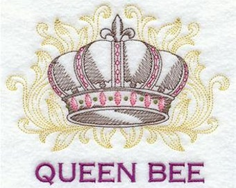 Queen Bee Crown Embroidered Towel | Flour Sack Towel | | Dish Towel | Kitchen Towel | Hand Towel | Embroidery