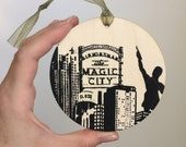 Birmingham Skyline Wooden Ornament