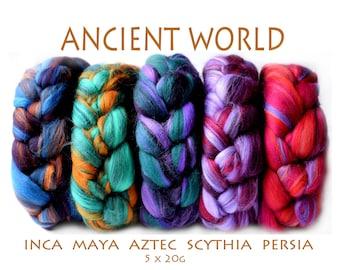 ANCIENT WORLD - blended roving - mixed pack - Merino - Tussah silk - 5 x 20g - 100g/3.5oz