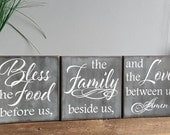 Bless the Food Before Us - Rustic Wood Sign - Kitchen Decor -  Dining Room Decor - Vertical - Horizontal - Housewarming Gift - Rustic Decor