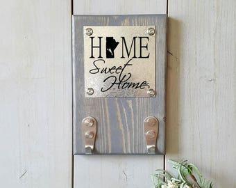 Key Holder, State Key Holder, Home Sweet Home, Key Hanger, Canada Key Holder, Realtor Gifts, Home State, Home Province, Key Storage, Entry
